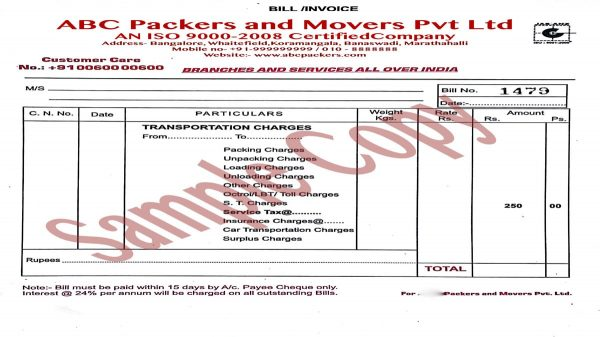 movers bill invoice sample 2