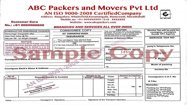 movers bill invoice sample 3