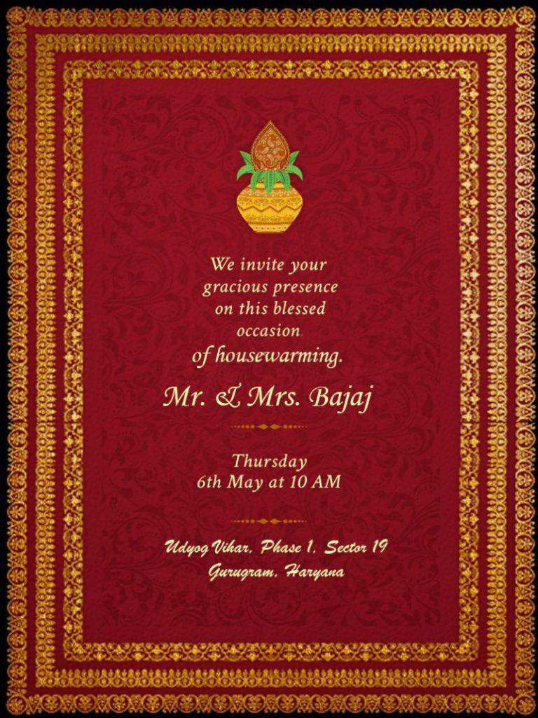 griha pravesh housewarming invitation card messages