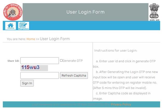 user login form at railway parcel website